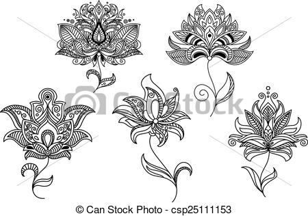 Persian clipart indian And flowers Vector csp25111153 indian