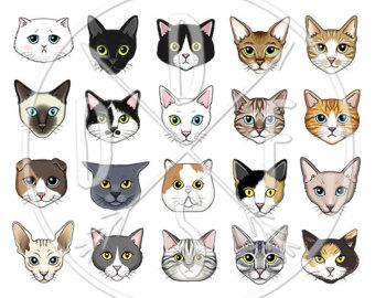 Persian Cat clipart kawaii cat White Faces Black A0124 persian