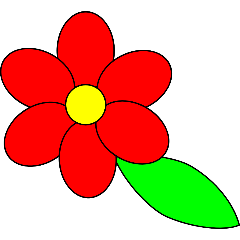 Petal clipart flower coloring Black red Clip leaf on