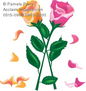Petal clipart rose stem Art Two With a of