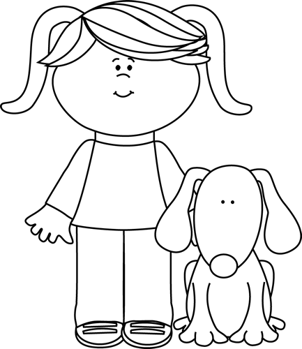 Pets clipart black and white White Black and White Girl
