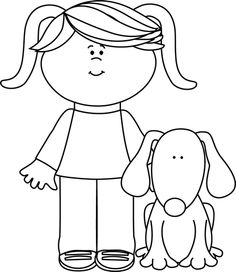 Pets clipart black and white Black Clip art black Girl