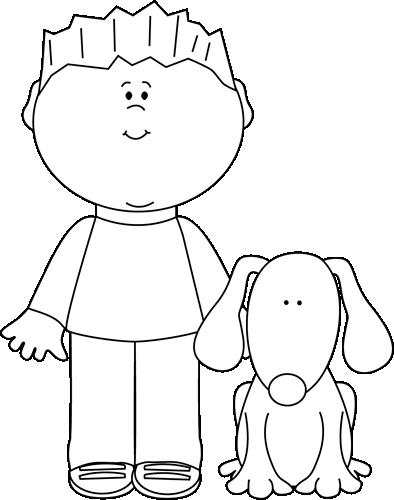 Pets clipart boy dog White Black Dog His Boy