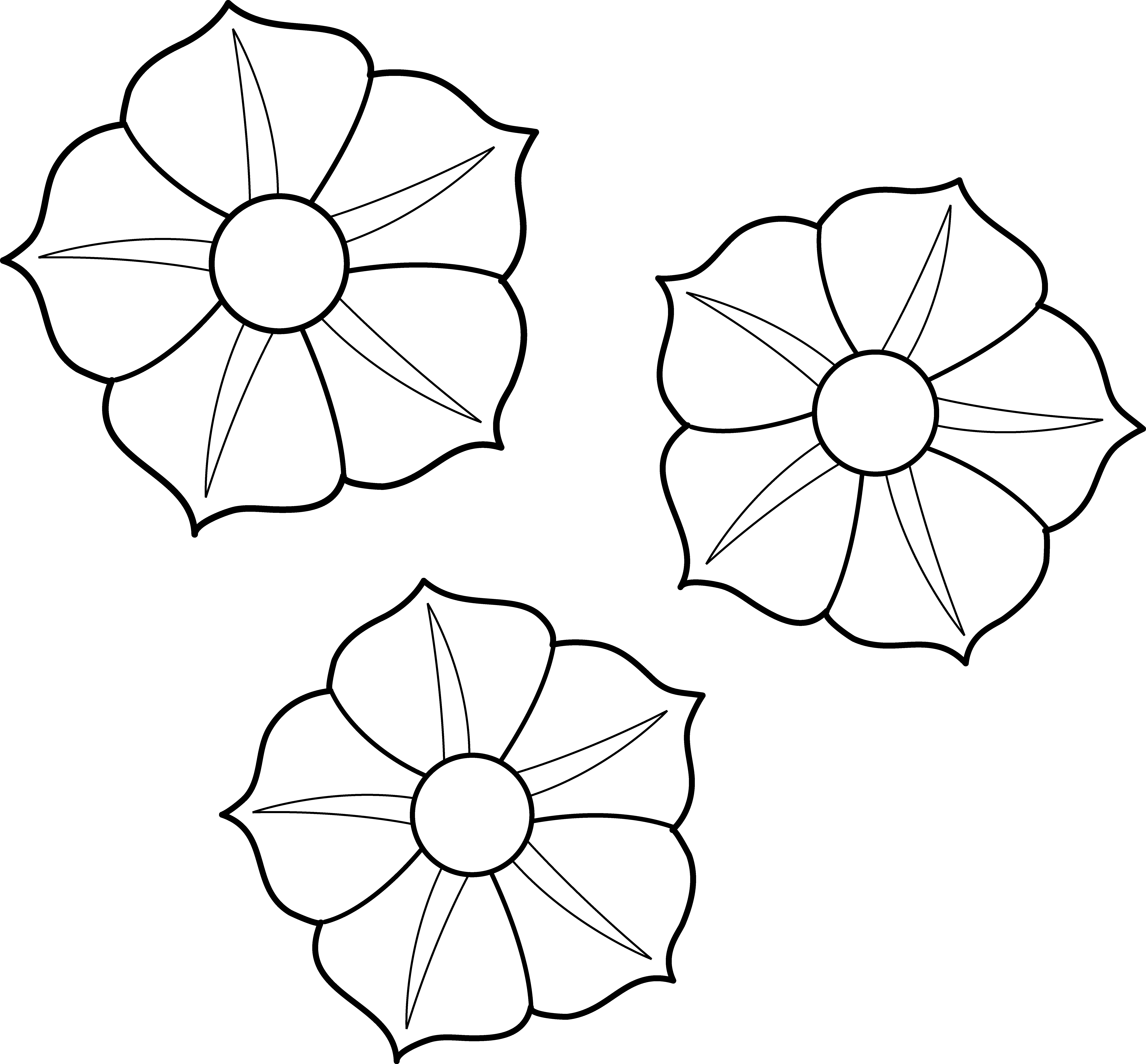 Petunia clipart black and white Colorable Flowers Coloring Page Petunia