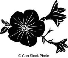Petunia clipart black and white  Vector royalty Clip Petunia