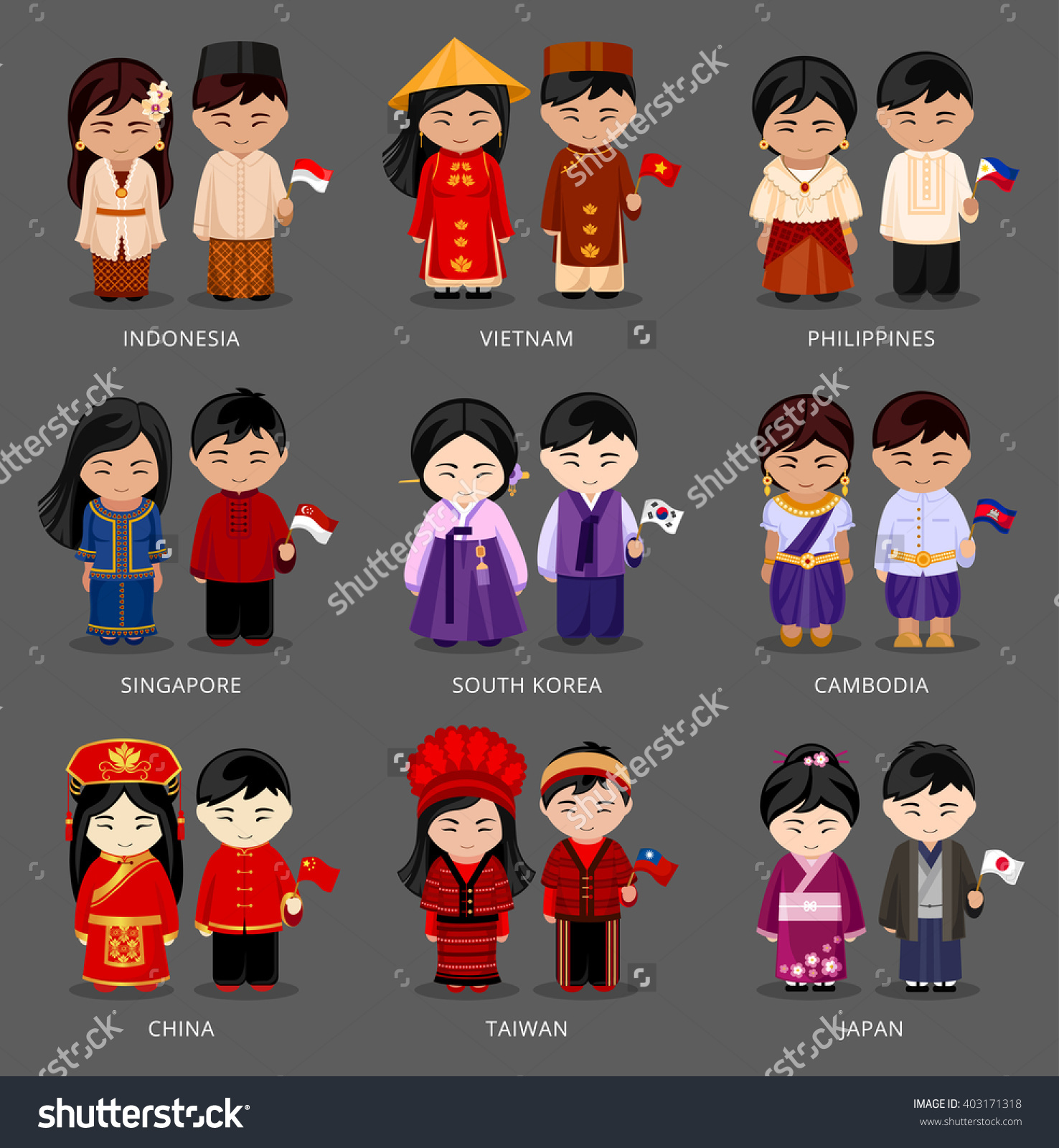 Phillipines clipart japanese boy Pairs Set in  different
