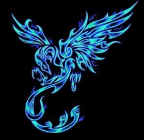 Phoenix clipart blue  as: Wings vector art