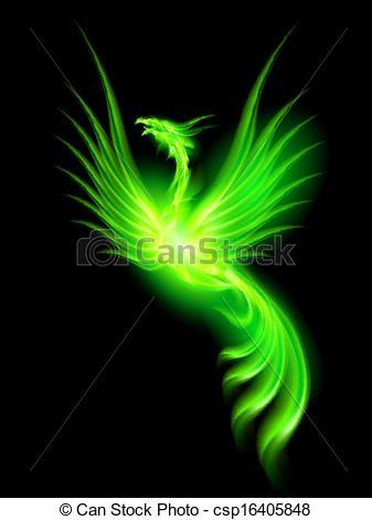 Phoenix clipart green Illustration  csp16405848 Phoenix Fire