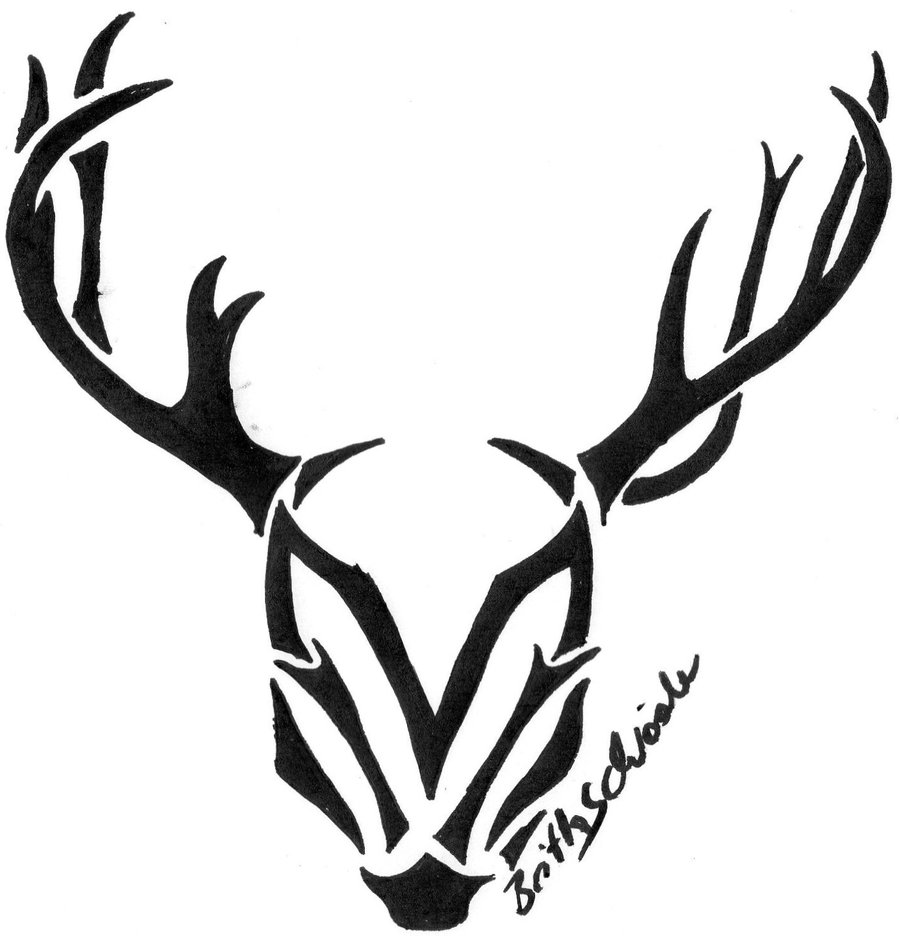 Drawn reindeer tribal Free Clip on Download Deer