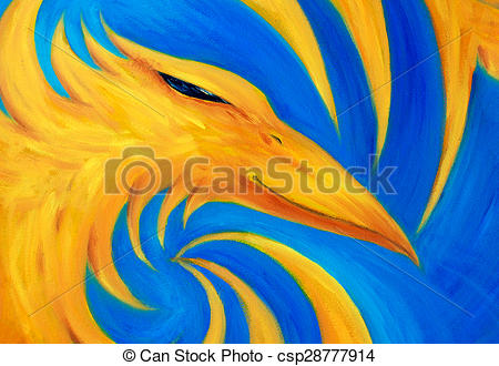 Phoenix clipart yellow Oil painting phoenix on yellow