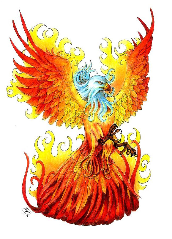 Phoenix clipart yellow Great color The Blowing feathers