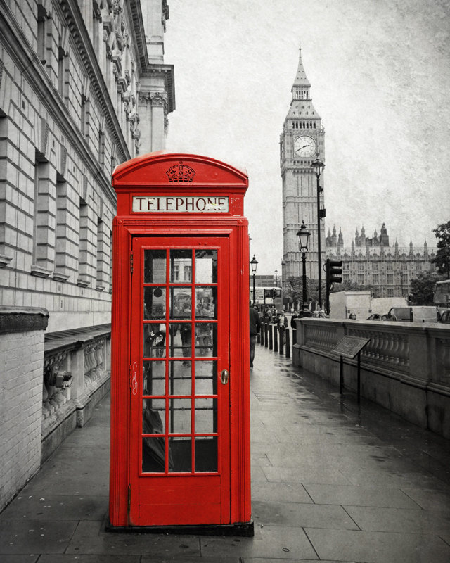 Drawn big ben telephone booth Black London Box and Big