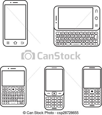 Phone clipart modern  set and phone Touchscreen