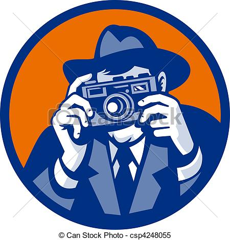 Photography clipart slr camera Hat style camera Photographer aiming
