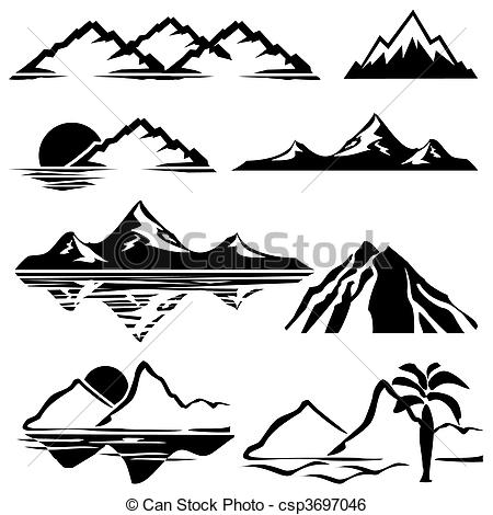 Photography clipart vector art Icons mountains set mountains of