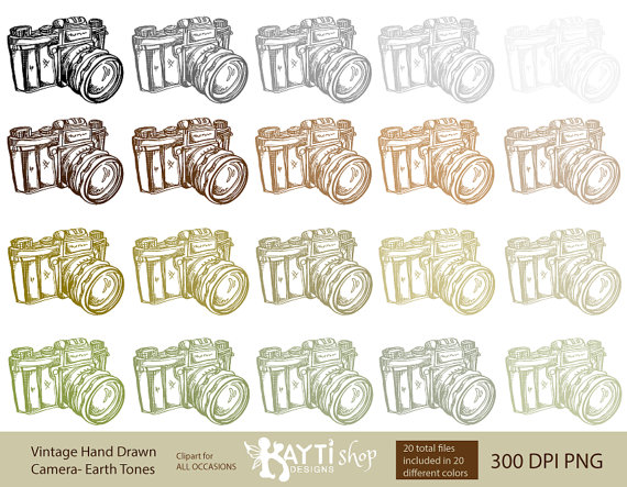 Photography clipart vintage camera Earth Hand SET Vintage Camera