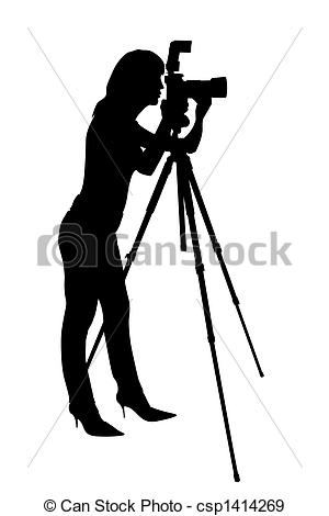 Photography clipart woman photographer Silhouette Illustration of photographer Stock