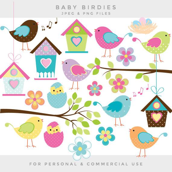 Bird clipart little bird Birds clipart whimsical art cute
