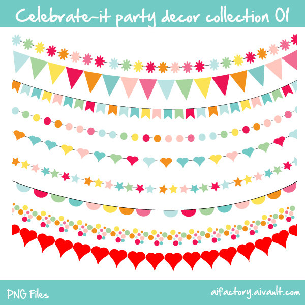 Bunting clipart celebration banner New Buntings frames confetti Commercial