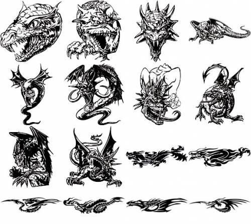 Photoshop clipart dragon Design tatoo vector graphic vector