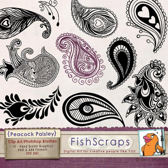 Peacock clipart art brush Elegant Design Paisley Elegant