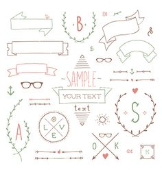 Drawn ribbon hipster On Free banners  by