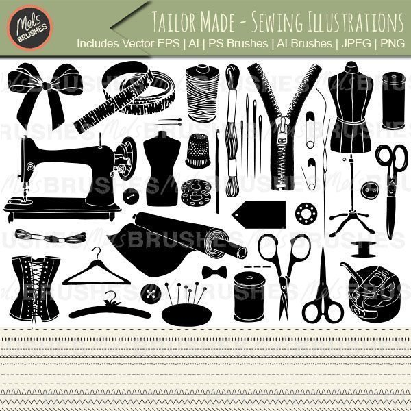 Photoshop clipart sewing Illustrations clipart Tailor Brushes and