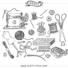 Photoshop clipart sewing Nedti Fashion Drawn Clipart Vintage