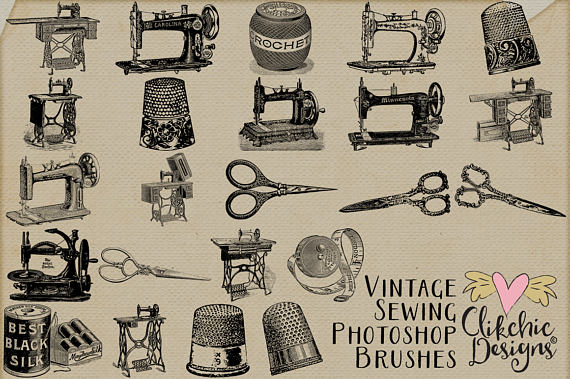 Photoshop clipart sewing & a Vintage 23 Photoshop