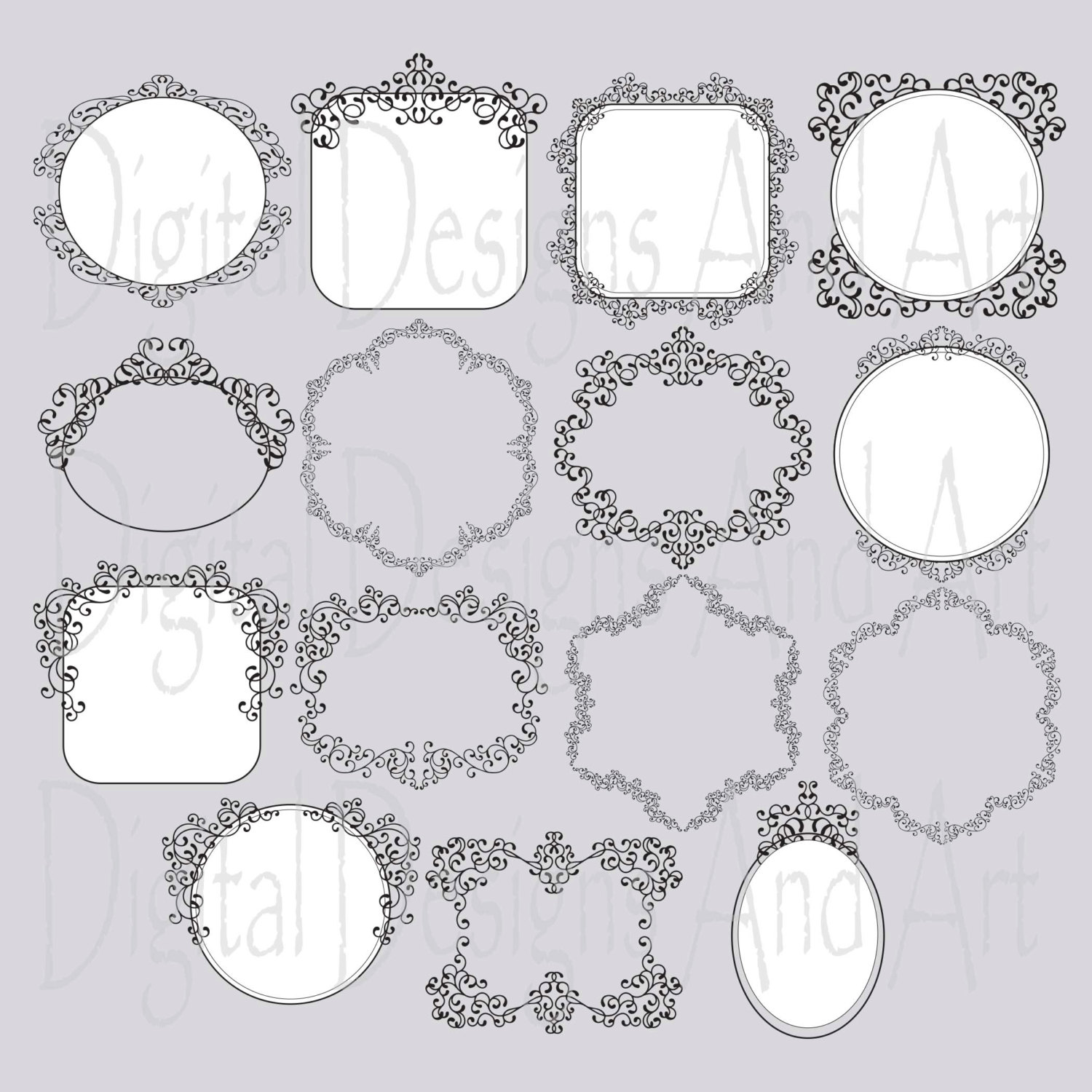 Photoshop clipart victorian pattern File frame digital frame This