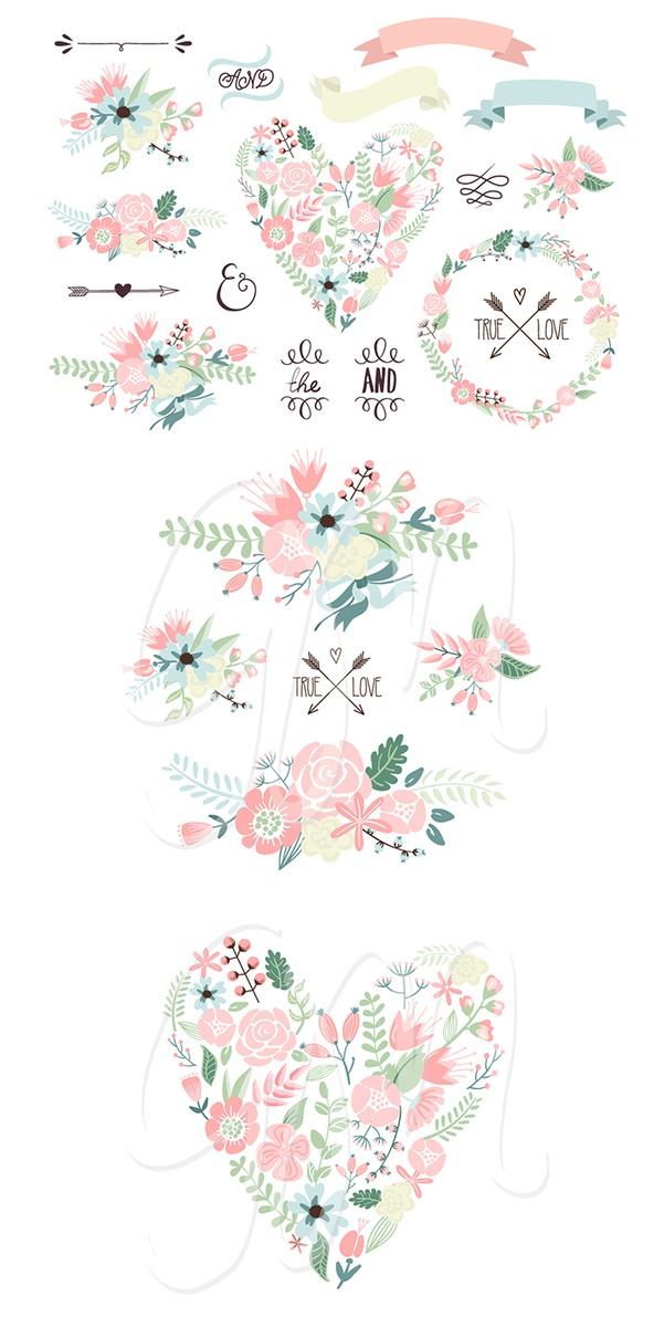 Photoshop clipart wedding heart Flowers #scrapbbook  #photoshop Floral