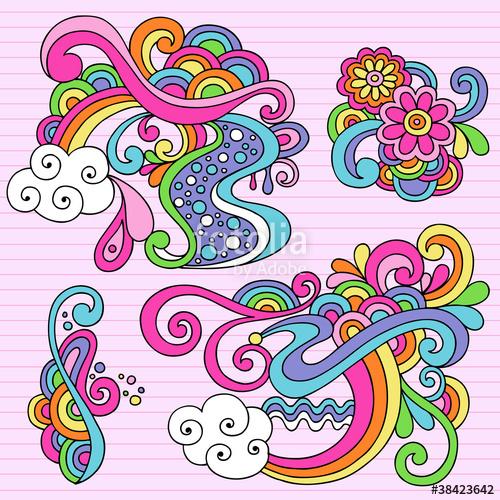 Physcedelic clipart cloud Psychedelic Doodles Stock Doodles image