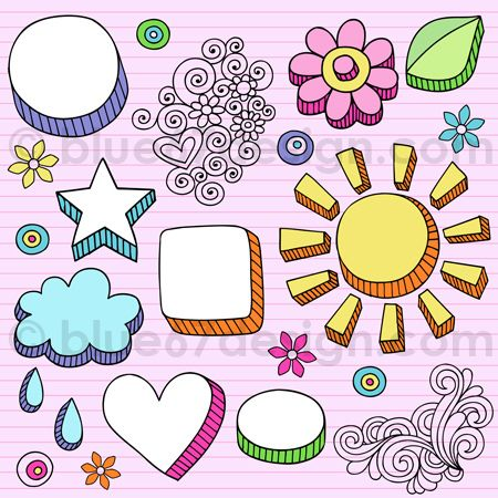 Physcedelic clipart fun frame Drawn on Hand Elements 25+