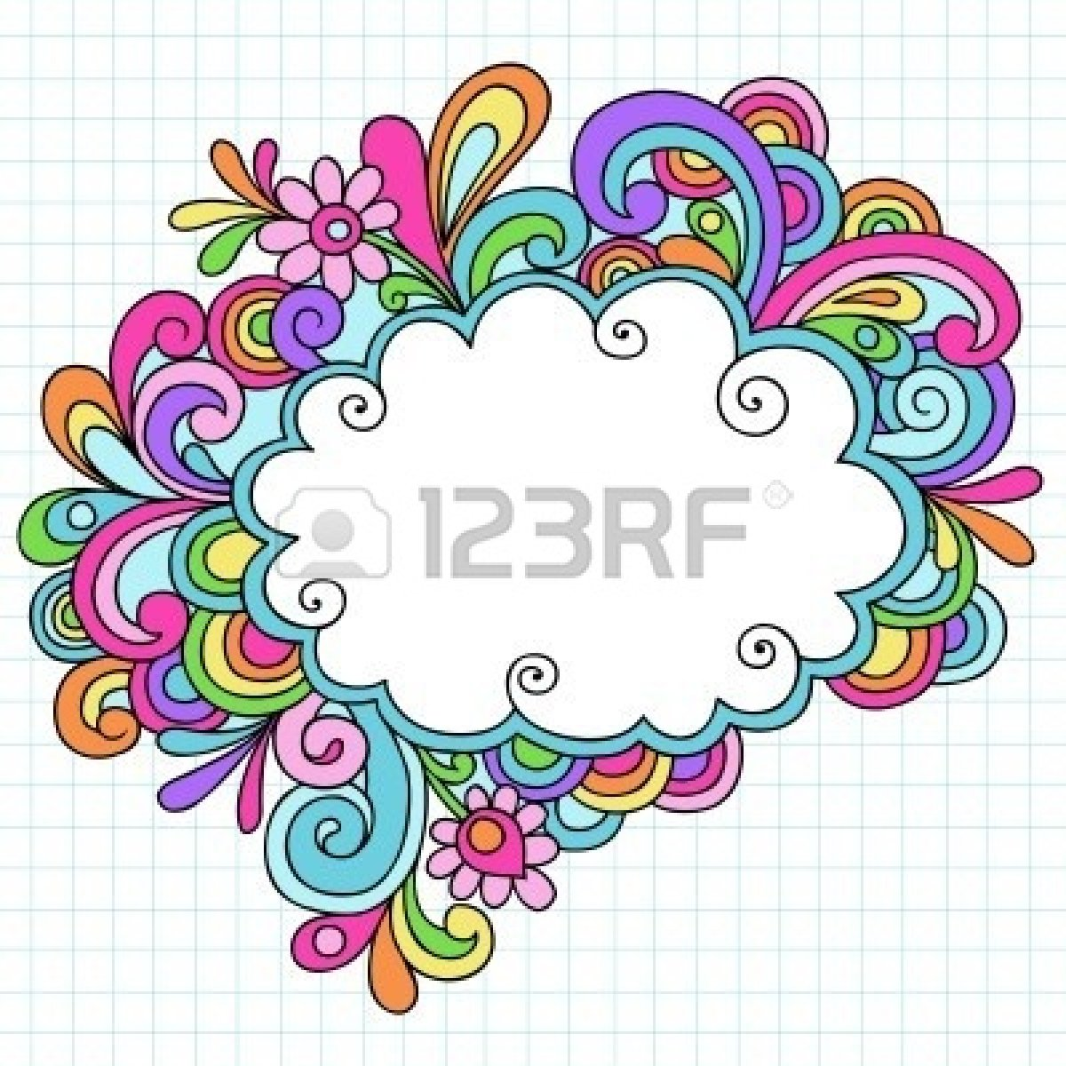 Blue Flower clipart groovy Flower  Groovy Drawn Circular