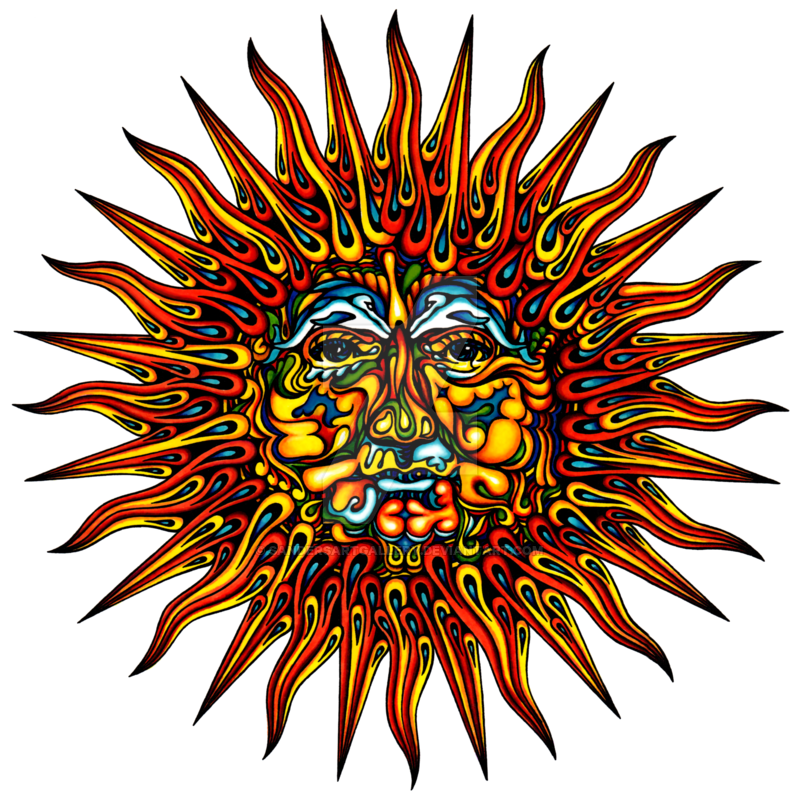 Physcedelic clipart transparent Sun by by sandersartgallery Psychedelic