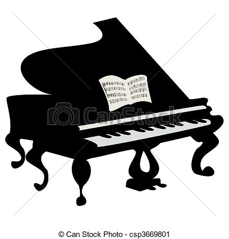 Piano clipart artwork Over  piano white isolated