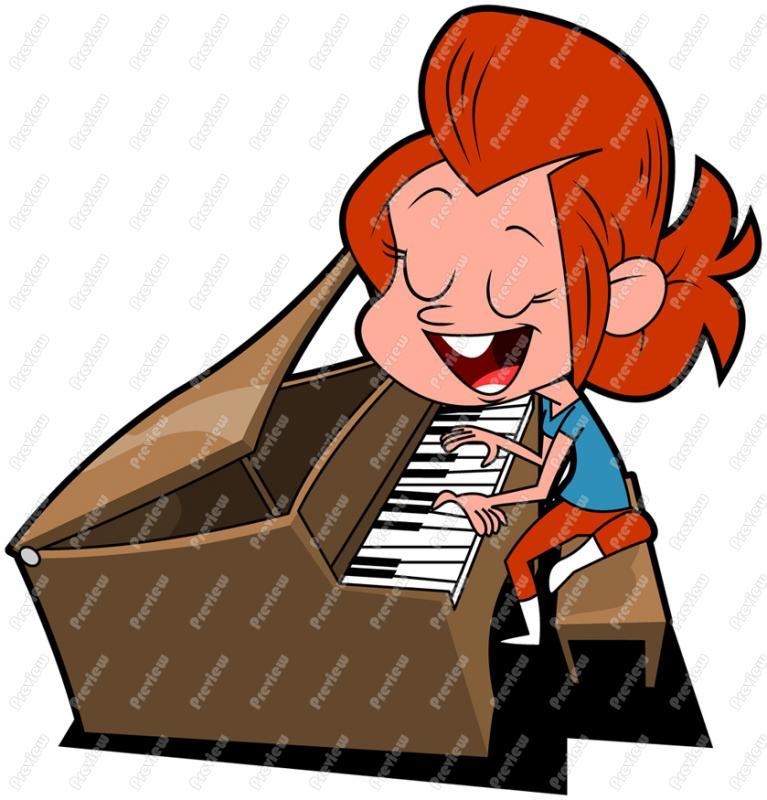 Piano clipart cartoon Free Young Piano Art