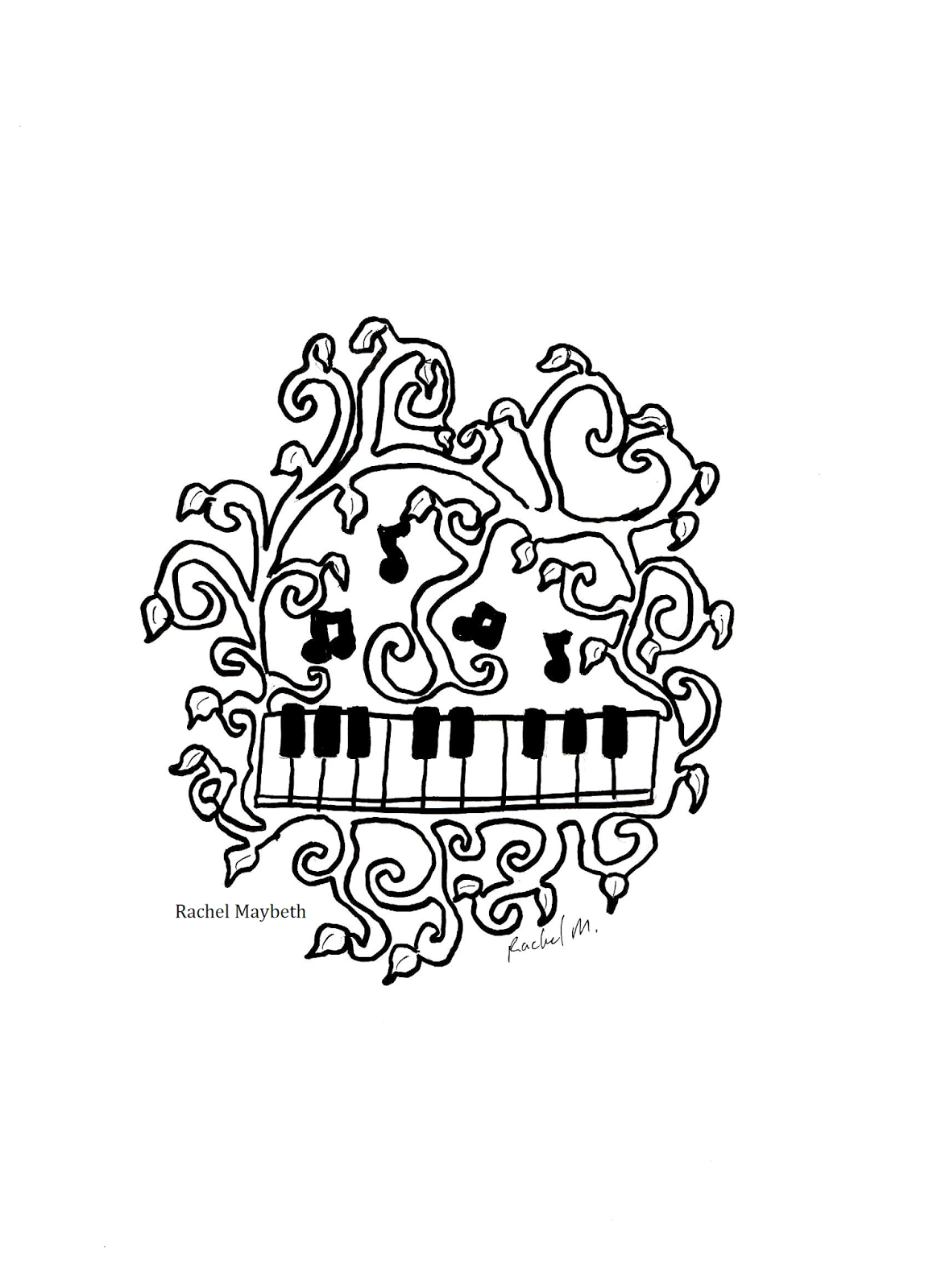Piano clipart coloring page Pages Guitar : Rachel vines