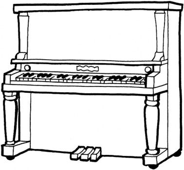 Piano clipart coloring page Pinterest on Printable Coloring images