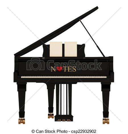 Piano clipart front White on Grand  Stock