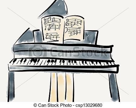 Piano clipart front Csp13029680 front of Piano piano