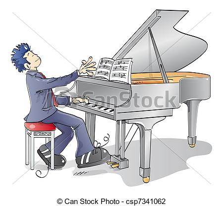 Piano clipart man on Stock man piano and