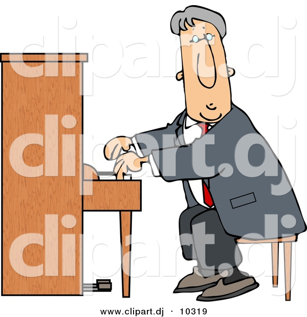 Piano clipart man on Clipart of #10319 Cartoon a