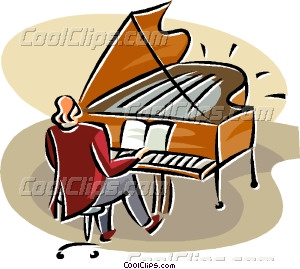 Piano clipart man on A playing Vector a grand
