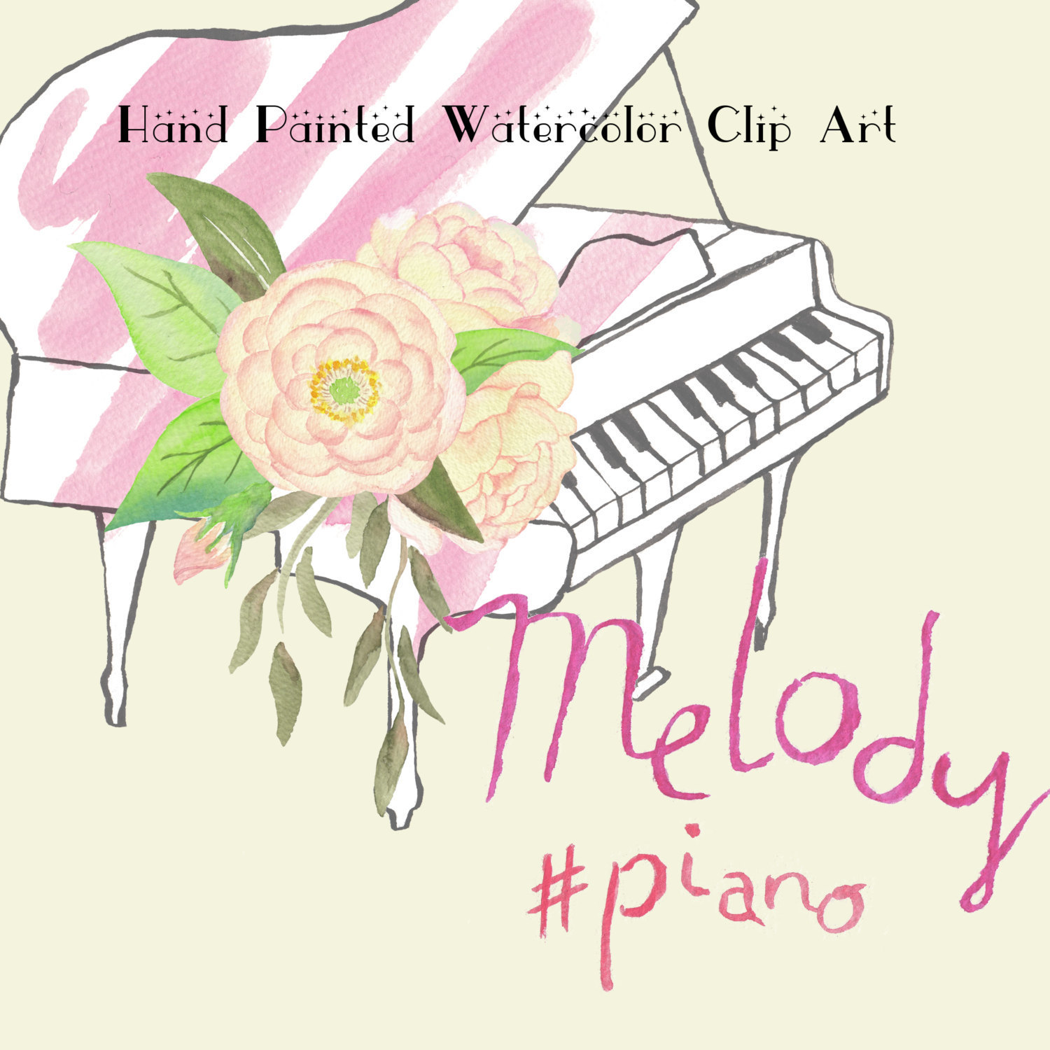 Piano clipart pink Melody Clipart Watercolor Painted is