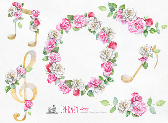 Piano clipart pink AND OFF Music clipart is