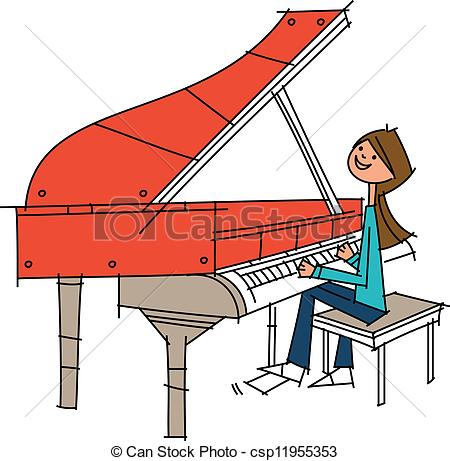 Piano clipart side view Vector Clipart woman of of