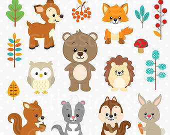 Wood clipart woodlands Clip Woodland Animal art clipart
