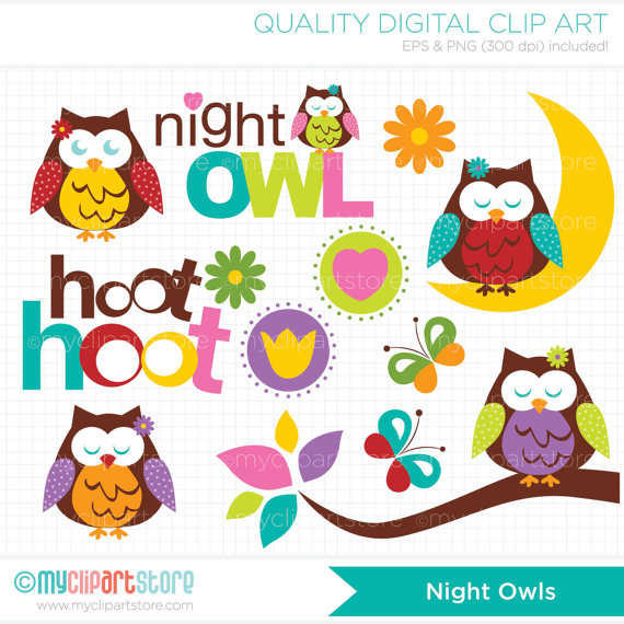 Night clipart night owl / Clip by Night /