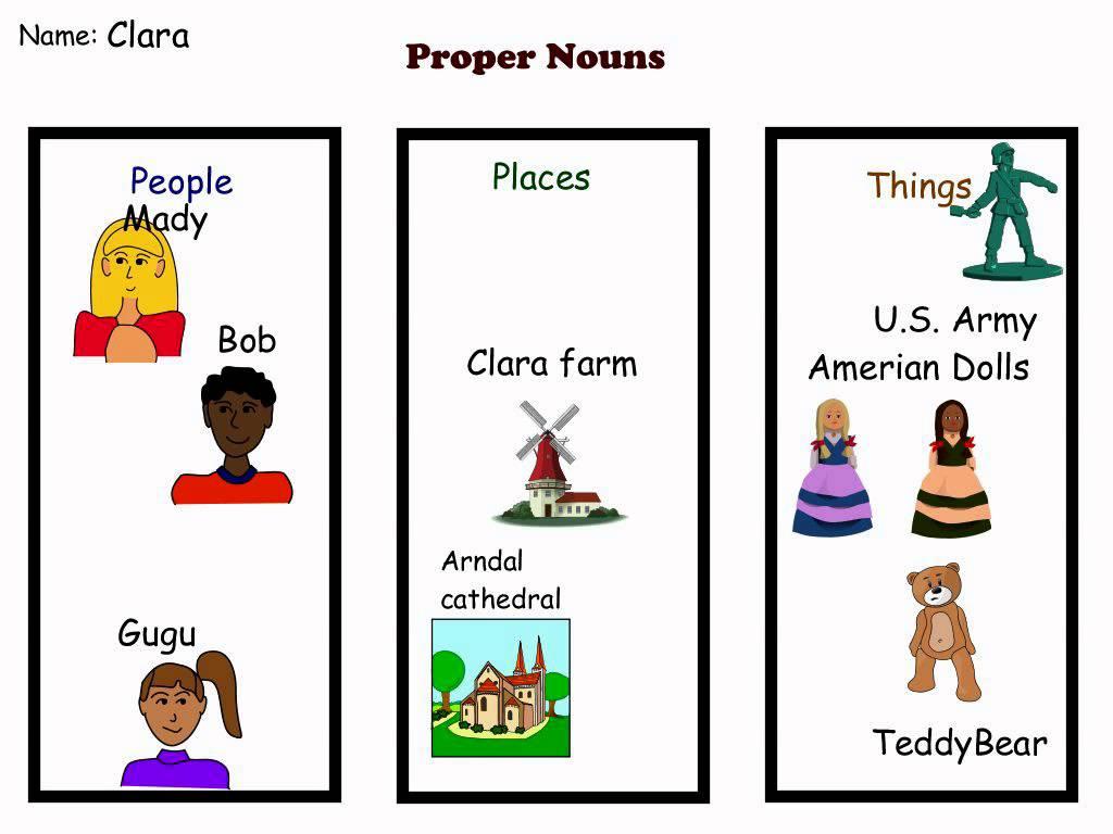 Nouns 1st graders Proper about